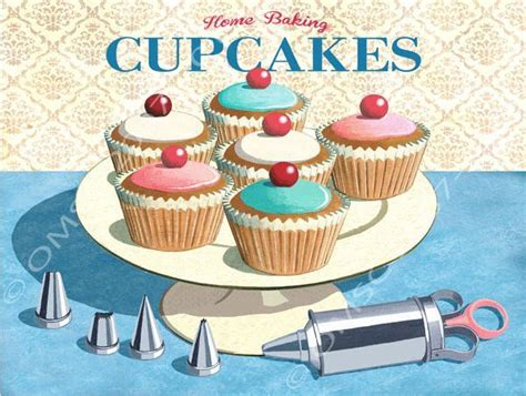 Kitchen Accessories Cupcake Design | home baking cupcakes metal sign retro kitchen decor