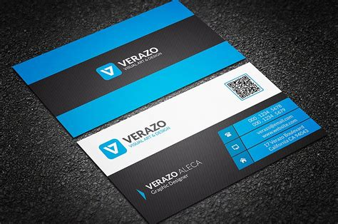 blue corporate business card template with qr code creative modern business card business card templates