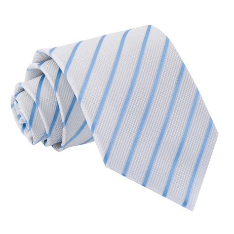s single stripe white baby blue tie