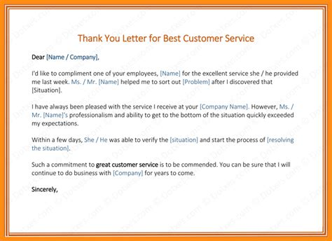 sample thank you letters to customer