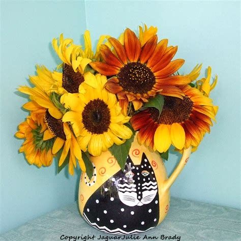 Sunflowers In Vase by Julie Brady On Sunflowers In A Vase