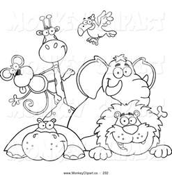 clip art coloring outline zoo animals