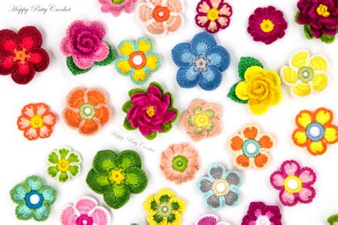 flower applique 9 crochet flower appliques patterns by happy patty crochet
