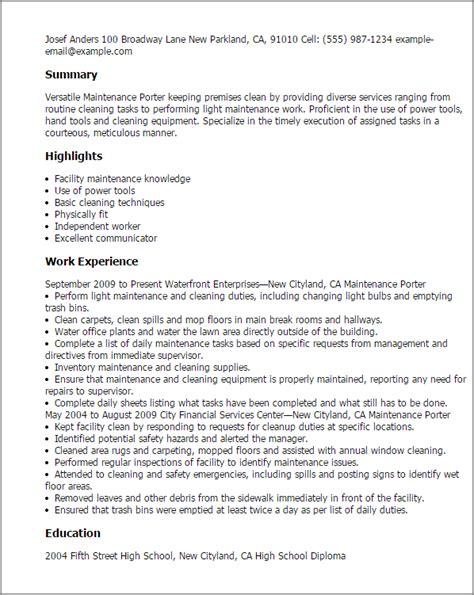 Porter Resume Sle by Maintenance Technician Resume Sle Maintenance Resume Sle Resume Exles Maintenance