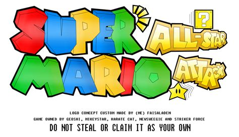 super mario fan games super mario all star attack fan game logo by