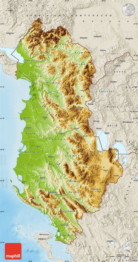 albania map physical map of albania shaded relief outside