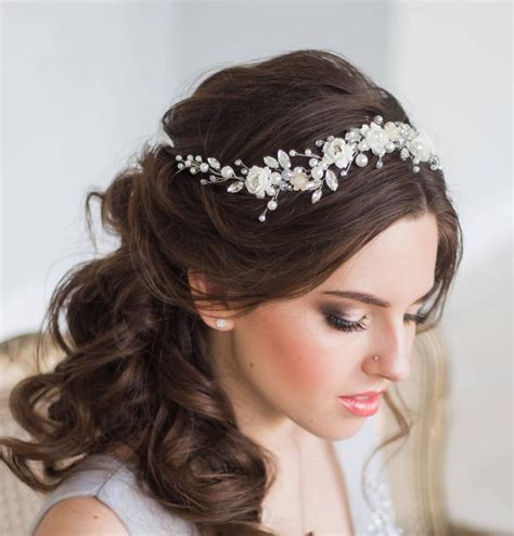 Wedding Hair Tiara by Bridal Hair Vine Floral Bridal Tiara Wedding Diadem Pearl