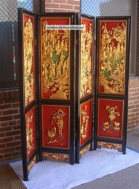 Asian Room Divider Screens Room Dividers Antique Carved Gilt Wood 4 Panel Folding Screen Room