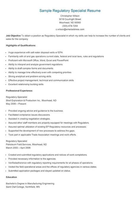 pharmaceutical regulatory resume specialist sle regulatory specialist resume resame