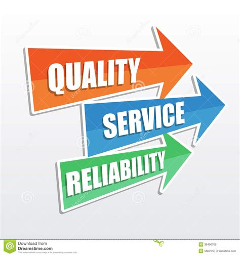 design concept quality quality service reliability flat design arrows stock