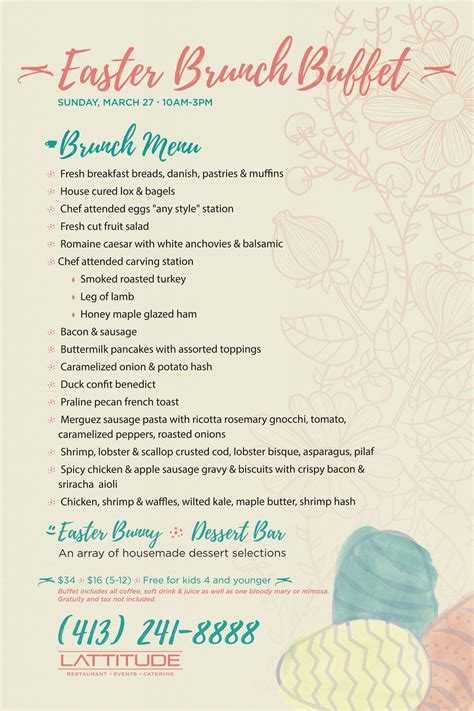 easter brunch buffet menu ideas easter brunch buffet lattitude restaurant longitude catering and events