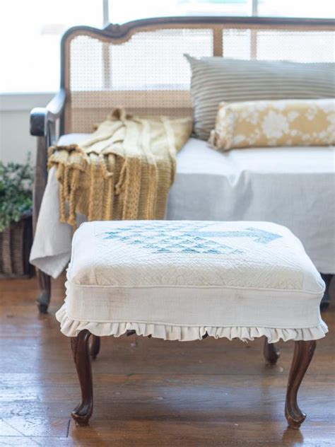 how to slipcover an ottoman hgtv