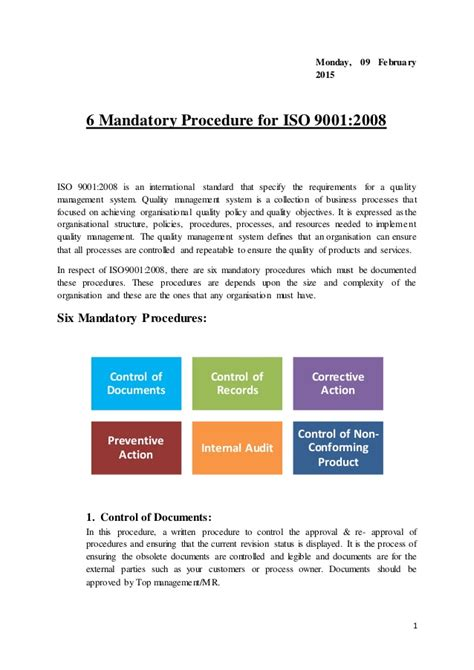 iso 9001 procedure template free templates forms iso 9001 mandatory procedures