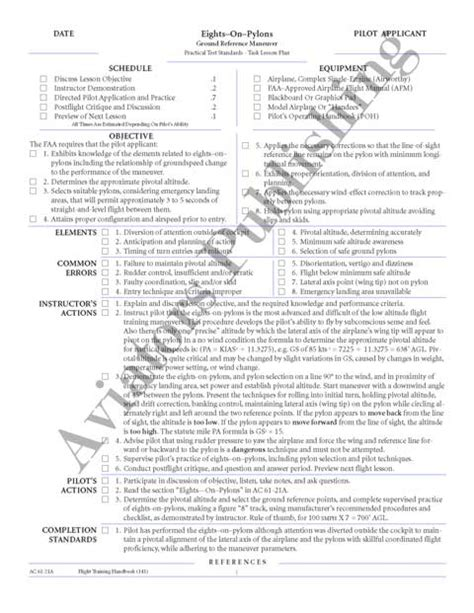 Flight Instructor Lesson Plans Ask A Flight Instructor Cfi Lesson Plan Template