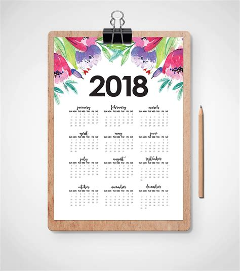 freebie friday 2018 year at a glance planner inserts