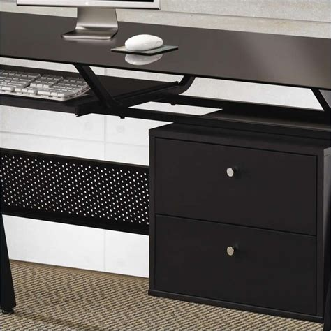 Glass Desk With Storage by Glass Computer Desk Black Metal W Two Storage Drawers Home Office Decorative Desks Home