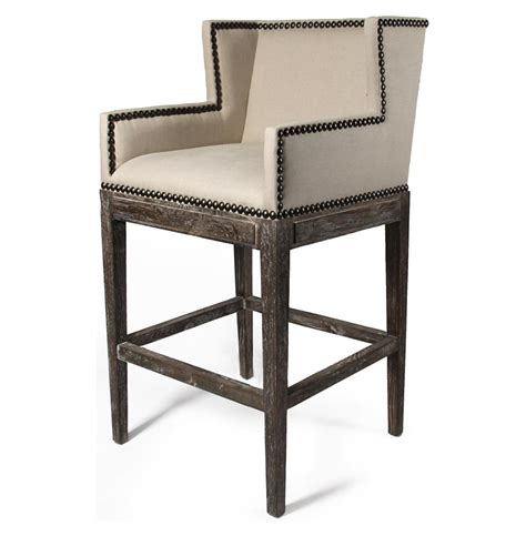 Linen Nailhead Bar Stools by Country Contemporary Nailhead Linen High Backed