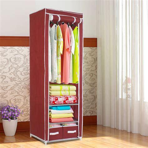 Single Fabric Wardrobe by Finether Metal Framed Fabric Wardrobe Portable Closet