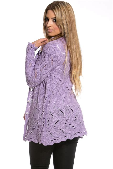 lavender button  knit cardigan  cicihot clothingsexy