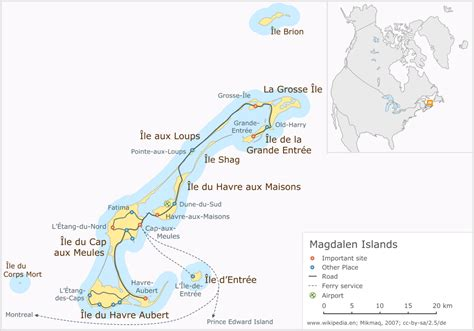 map of canada with islands magdalen islands