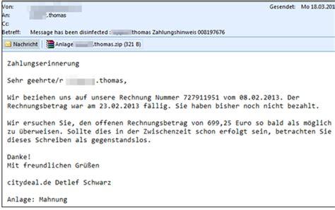 Mahnung Muster Per Email Trojaner Warnung Bei E Mails Mit Einer Rechnung Im Dateianhang Mimikama