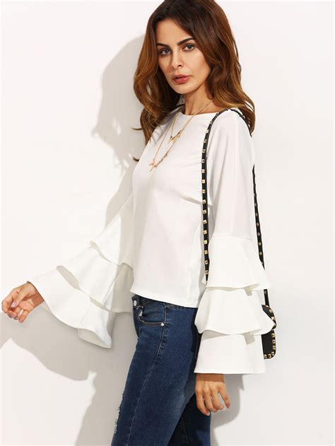 Sleeves Blouse White white ruffle blouse sleeve blouse with