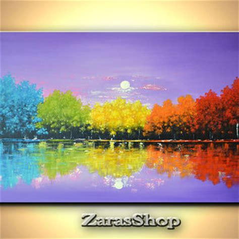 colorful trees colorful rainbow trees painting original from modernartnyc on