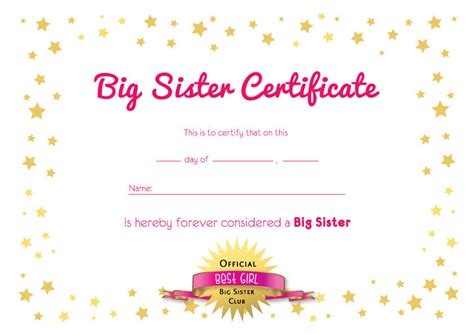 big sister certificate