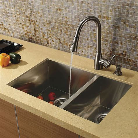 Modern Undermount Kitchen Sink Vigo Undermount Stainless Steel Kitchen Sink Faucet And Dispenser Modern Kitchen Sinks By