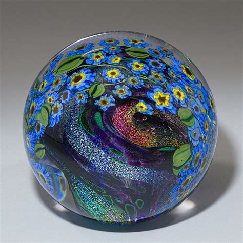 Glass Paper Weight - forget me nots paperweight by shawn messenger glass