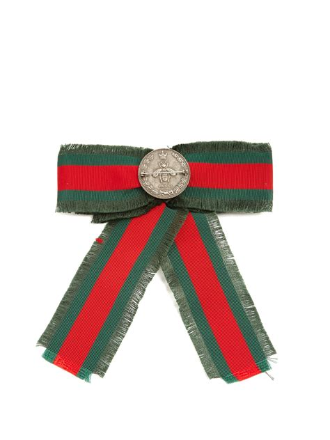 Gucci Bow Tie Brooch by Lyst Gucci Embellished Web Stripe Bow Brooch In