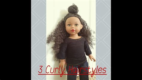 3 super easy cute hairstyles for curly haired dolls youtube