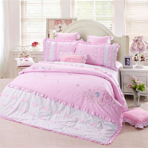 girls queen size bedding new pink elegant embroidery floral 100 cotton bedding