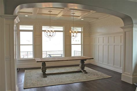 dining room molding ideas coffered ceilings board and batten walls heavily trimmed