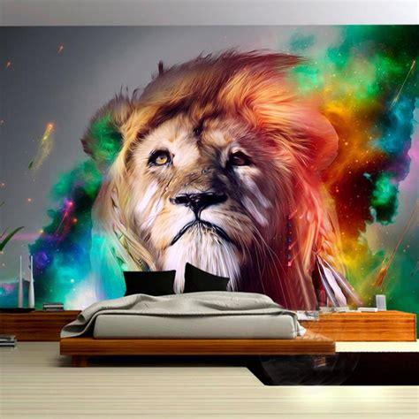 wallpaper colorful lion custom poster mural modern design colorful lion wallpaper