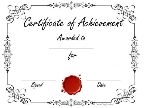 achievement award certificate template free customizable certificate of achievement