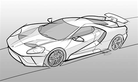 supercar drawing my drawing of a 2017 ford gt scottdesigner