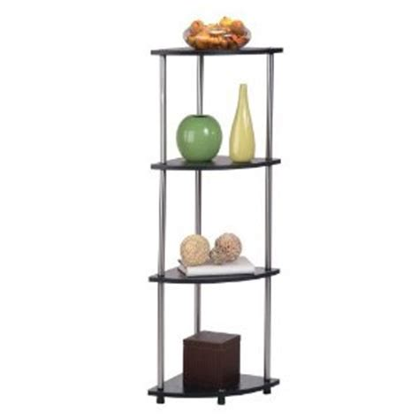 Corner Standing Shelf by Convenience Concepts 4 Tier Standing Black Stainless Steel