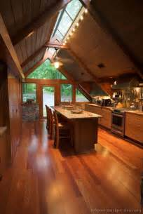 A Frame Kitchen Ideas A Wood Cabin Kitchen With Vaulted Ceilings