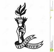 Freedom Within Cool Tattoo Design Of Hand Holding Liberty Torch Stock