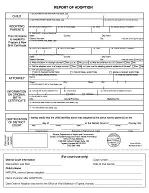 Office Of Vital Records Nyc by Report Of Adoption Fill Printable Fillable