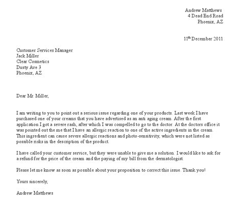 Formal Letter Complaint About School Canteen Free Formal Letter Of Complaint Exle Projects To Try