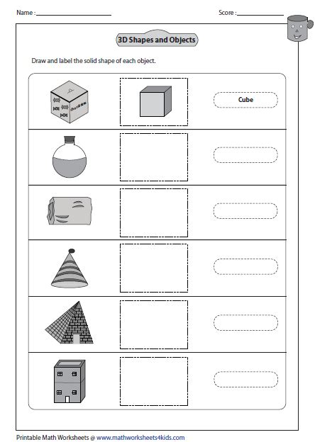 Drawing 3d Shapes Worksheet by Solid 3d Shapes Worksheets