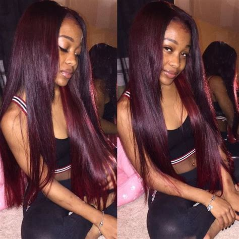 Straight Red Ends Sew In Hairstyles | 33 best 99j burgundy weave human hair images on pinterest