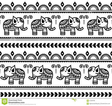 black and white elephant pattern mehndi indian henna tattoo seamless pattern with