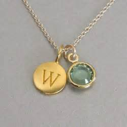 Gold Monogram Initial Necklace Gold Initial Amp Birthstone Charm Necklace By Tangerinejewelryshop