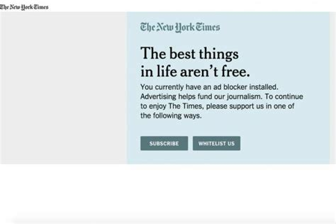 Blockers Times The New York Times Begins Testing Ad Blocking Approaches Digital Adage