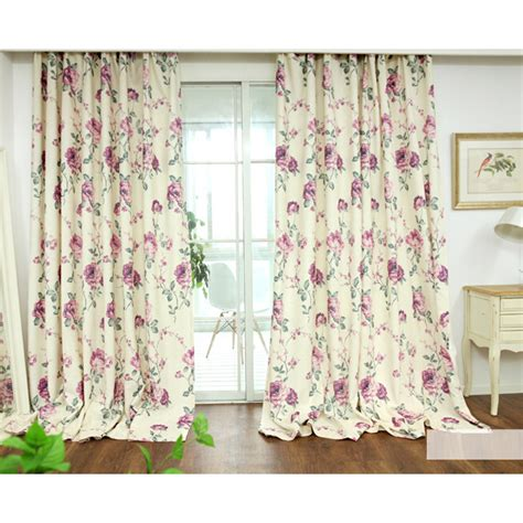 White Floral Curtains Fresh Linen Cotton White Print Floral Curtains
