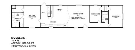 model bedroom bath floor plans bestofhouse net 32755 model 337 16x76 3bedroom 2bath oak creek mobile home