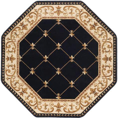 6 octagon rug tayse rugs sensation black 5 ft x 5 ft octagon